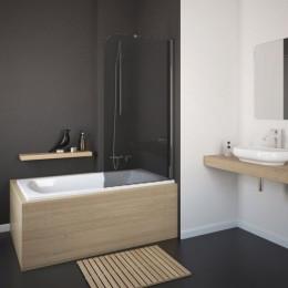 Шторка на ванну Eger 80x150 (599-02R grey), скло тоноване, права