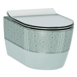 Чаша подвесного унитаза Idevit Alfa Iderimless 3104-2616-1201, белый/декор серебро