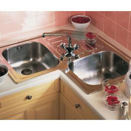 Угловая кухонная мойка Teka из нержавеющей стали, полированная, врезная, 83х83см Classic Angular 2B 10118005 Тека