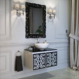 Тумба подвесная для ванной комнаты 800x500 без раковины Marsan VINCENT в цвете (Марсан 3-Винсент) белая/черная