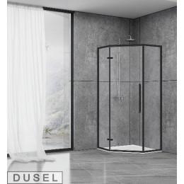 Душевая кабина Dusel DL197HB Black Matt, 90x90x190, пятиугольная, профиль черный, стекло прозрачное