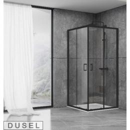 Душевая кабина Dusel EF184 Black Matt, 90x90x190, двери раздвижные, профиль черный, стекло прозрачное