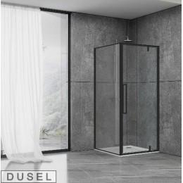 Душевая кабина Dusel DL198B/DL196B Black Matt , 90x90x190, дверь распашная, профиль черный, стекло прозрачное