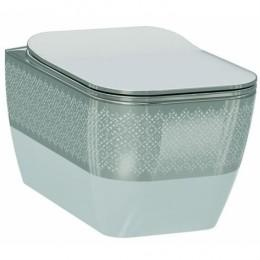 Чаша подвесного унитаза Idevit Halley Iderimless 3204-2616-1201, белый/декор серебро