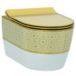 Чаша подвесного унитаза Idevit Alfa Iderimless 3104-2616-1101, белый/декор золото