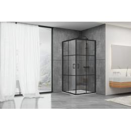 Душевая кабина Dusel EF184BP Black Matt Paint, 100x100x190, двери раздвижные, профиль черный, стекло прозрачное