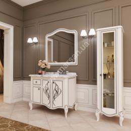 Тумба напольная для ванной комнаты 1050x600мм Marsan MELISSA (Марсан 6-Мелисса), белая/слоновая кость+ золото/серебро