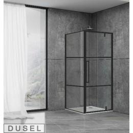 Душевая кабина Dusel DL198BP/DL196BP Black Matt Paint, 90x90x190, дверь распашная, стекло прозрачное