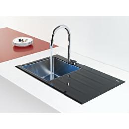 Кухонна мийка Teka з чорним загартованим склом, полірована, врізна, 78х51см, права версія Lux 1B 1D 78 12129006 Тека