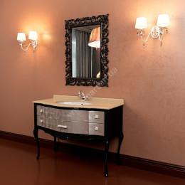 Тумба напольная для ванной комнаты Marsan Angelique 1170x560 в цвете, белая/черная/венге + античное золото/серебро** (Марсан 6-Анжелика)