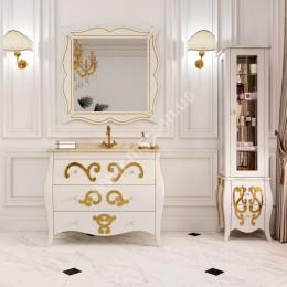 Підлогова Тумба для ванної кімнати 900х560мм Marsan ARLETTE (Марсан 12-Арлетт), малюнок золото/срібло