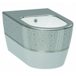 Биде Idevit Alfa 3106-2605-1201, белый/декор серебро