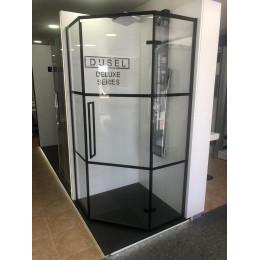 Душевая кабина Dusel DL197HBP Black Matt Paint, 100x100x190, пятиугольная, профиль черный, стекло прозрачное