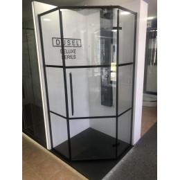 Душевая кабина Dusel DL197HBP Black Matt Paint, 90x90x190, пятиугольная, профиль черный, стекло прозрачное