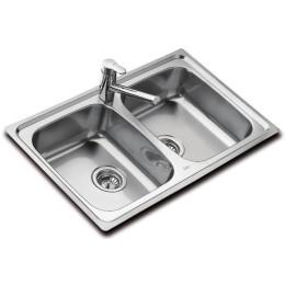 Двойная кухонная мойка Teka из нержавеющей стали, полированная, врезная, 79х50см UNIVERSO 2B 79 10120009 Тека