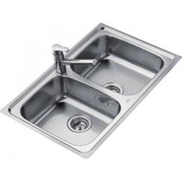 Подвійна кухонна мийка Teka з нержавіючої сталі, мікротекстура, врізна, 79х50см UNIVERSO 2B 79 10120046 Тека