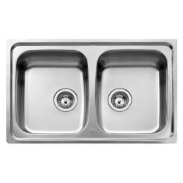Двойная кухонная мойка Teka из нержавеющей стали, матовая, врезная, 79х50см UNIVERSO 2B 79 10120003 Тека