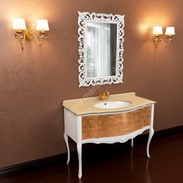 Тумба напольная для ванной комнаты Marsan Angelique 910x560 в цвете, белая/черная/венге + античное золото/серебро** (Марсан 4-Анжелика)