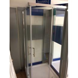 Душевая кабина Dusel A-513b 800x800x1900, двери раздвижные, стекло прозрачное
