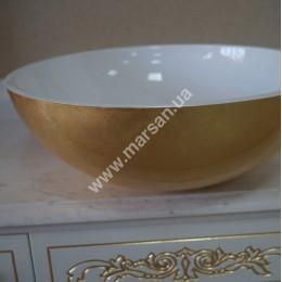 Настільний круглий умивальник на стільницю Marsan VINCENT* 420мм ТОНДО (Марсан 15-Вінсент) античне золото/срібло