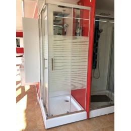 Душова кабіна Dusel A-513e 800x800x1900, двері розсувні, silk screen (смужка)