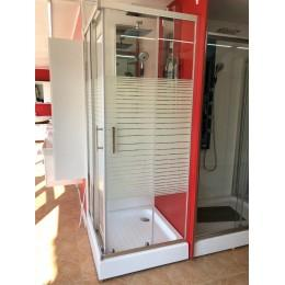 Душевая кабина Dusel A-513e 800x800x1900, двери раздвижные, silk screen (полоска)