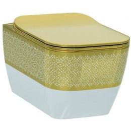 Чаша підвісного унітазу Idevit Halley Iderimless 3204-2616-1101, білий/декор золото