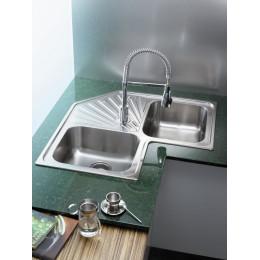 Кутова кухонна мийка Teka з нержавіючої сталі, мікротекстура, врізна, 83х83см Classic Angular 2B 10118007 Тека
