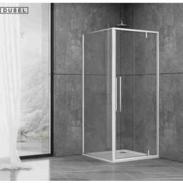 Душевая кабина Dusel DL198/DL196 Chrome, 90x90x190, дверь распашная, стекло прозрачное
