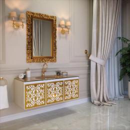 Тумба подвесная для ванной комнаты 1200x500 без раковины Marsan VINCENT в цвете (Марсан 4-Винсент) белая/черная