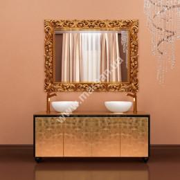 Столешница стеклянная под настольную раковину для тумбы Marsan PENELOPE 1600 (Марсан 15-Пенелопа), белая/золото