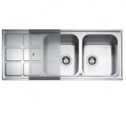 Подвійна кухонна мийка Teka з нержавіючої сталі, полірована, врізна, 116х50см CUADRO 2B 1D 12121001 Тека