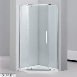Душевая кабина Dusel А1104, 100x100x190, пятиугольная, стекло прозрачное