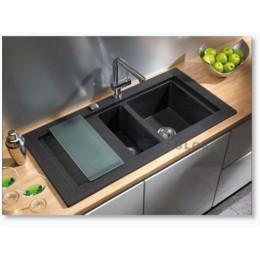 Кухонная мойка Teka из тегранита, врезная, 1060х525мм, серый металлик Teka 88564 AURA 60B TG Тека