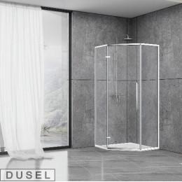 Душевая кабина Dusel DL197H Chrome, 90x90x190, пятиугольная, профиль хром, стекло прозрачное