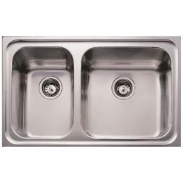 Двойная кухонная мойка Teka из нержавеющей стали, микротекстура, врезная, 80х50см CLASSIC MAX 2B LHD 11119207 Тека