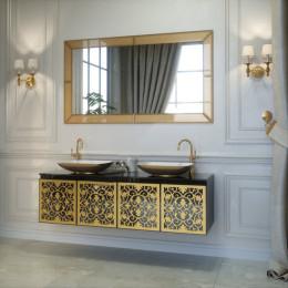 Тумба підвісна для ванної кімнати 1600x500 без раковини Marsan VINCENT в кольорі (Марсан 5-Вінсент) біла/чорна