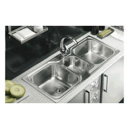 Тройная кухонная мойка Teka из нержавеющей стали, полированная, врезная, 100х50см CLASSIC 2 1/2 B 10119080 Тека