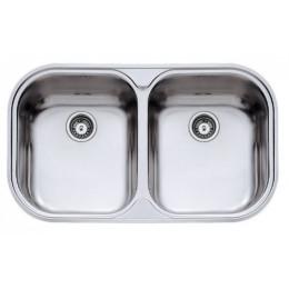 Двойная кухонная мойка Teka из нержавеющей стали, микротекстура, врезная, 82,8х48,5см STYLO 2B 11107044 Тека