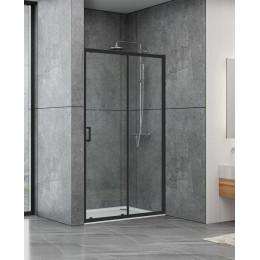 Душові двері Dusel EF185B Black Matt, 140x190, двері розсувні, профіль чорний, скло прозоре