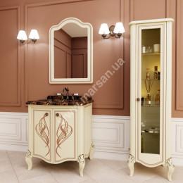 Тумба напольная для ванной комнаты 750x600мм Marsan MELISSA (Марсан 5-Мелисса), белая/слоновая кость+ золото/серебро