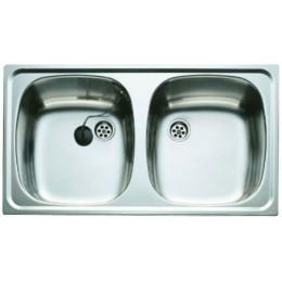 Двойная кухонная мойка Teka из нержавеющей стали, матовая, врезная, 80х44см UNIVERSAL 800.440 2B 30000155 Тека