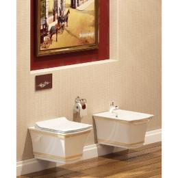 Чаша підвісного унітазу Idevit Neo Classic Iderimless 3304-0616-0088 білий/декор золото