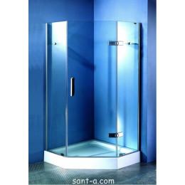 П'ятикутна душова кабінка на дрібному піддоні Appollo 900х900х2000 мм, скло прозоре TS-0259C (код 037478)