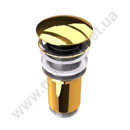 Донный клапан для умывальника Marsan PENELOPE с системой click/clack, золото