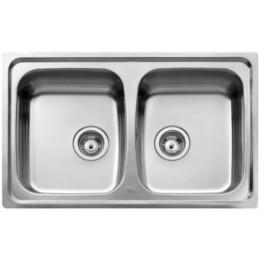 Двойная кухонная мойка Teka из нержавеющей стали, матовая, врезная, 79х50см Basico 79 2B 11124025 Тека