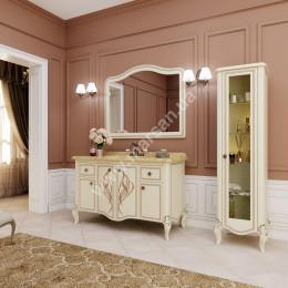 Тумба напольная для ванной комнаты 1350x600мм Marsan MELISSA (Марсан 7-Мелисса), белая/слоновая кость+ золото/серебро