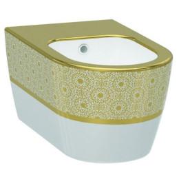 Биде Idevit Alfa 3106-2605-1101, белый/декор золото