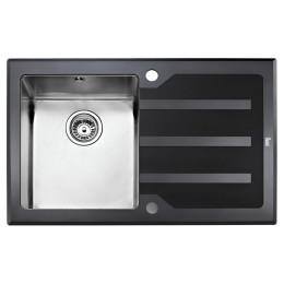 Кухонна мийка Teka з чорним загартованим склом, полірована, врізна, 78х51см, ліва версія Lux 1B 1D 78 12129007 Тека