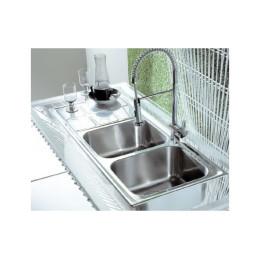 Подвійна кухонна мийка Teka з нержавіючої сталі, полірована, врізна, 116х50см CUADRO 2B 1D 12121002 Тека